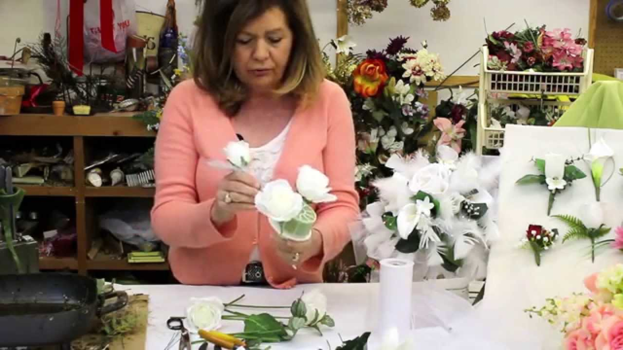 How to make a wedding bouquet with silk flowers silk flower how to make a wedding bouquet with silk flowers silk flower bouquet bridal bouquet youtube izmirmasajfo