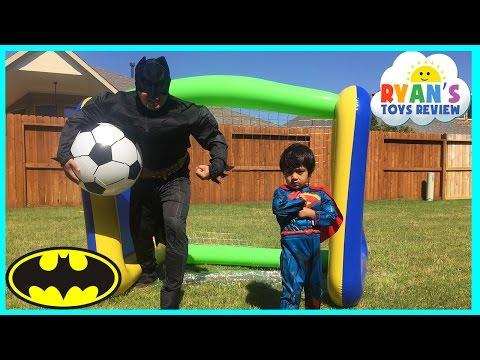 Batman vs Superman HUGE INFLATABLE TOYS for Kids Soccer Challenge Egg Surprise Toy Marvel Avengers