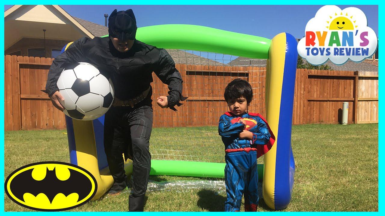 Batman Vs Superman Huge Inflatable Toys For Kids Soccer Challenge Marvel Boys Youtube