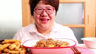 촉촉한 감자탕 볶음밥 먹방 !! 부산의 쥐포튀김과 함께…