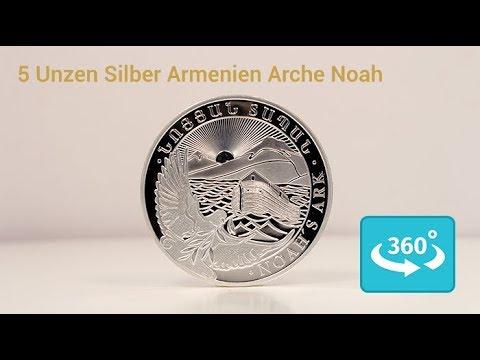 5 Unzen Silbermünze Arche Noah in 360° Ansicht