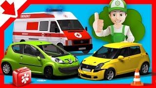 Accidente de coche para niños. Handy Andy dibujos animados accidente de Coche de dibujos animados de la Ambulancia para niños de dibujos animados de coches