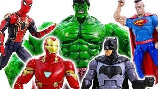 Power Rangers & Marvel Avengers Toys | Iron Man, Spider, Caption & Hulk Vs Batman, SUPERMAN Funko