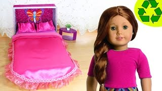 How to make an American Girl Doll Bed and Bedding - No Sew- Doll Crafts