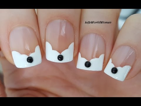 Wavy French Manicure On Short Nails With Black Rhinestones