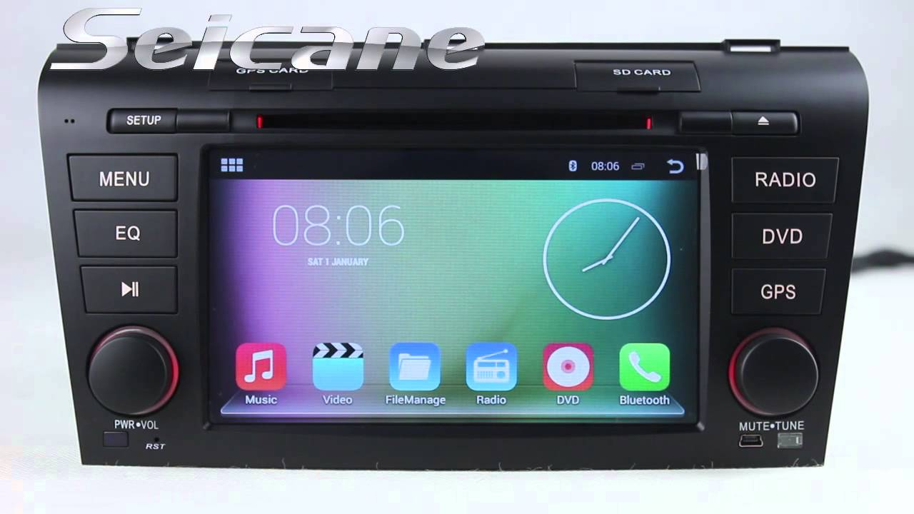 2007 2008 2009 mazda 3 double din in dash radio dvd navigation stereo support bluetooth music 3g dvr [ 1280 x 720 Pixel ]