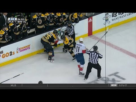 Brad Marchand goes at Huberdeau, Trocheck 3/31/18