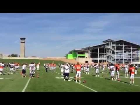 Britton Colquitt dancing during warmups on Day 5 of Broncos camp
