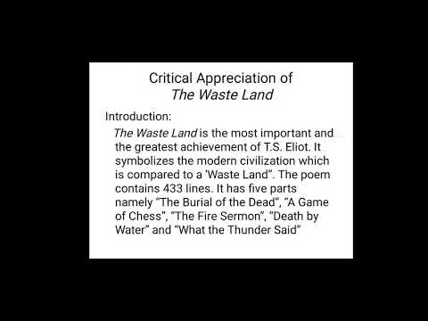 Critical appreciation of The Waste Land in English