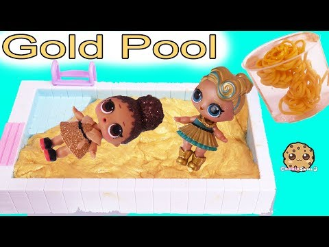 LOL Surprise Dolls Swim In Gold Water ? Golden Metallic DIY Slime Craft Kit Mp3