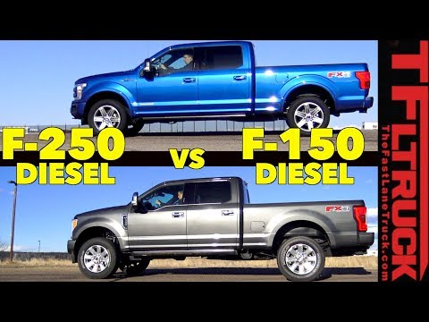 Which One Is Faster? 2018 Ford F150 vs F250 Diesel Mashup Review