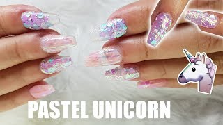 ACRYLIC NAILS | PINK PASTEL COFFIN SHAPE + ENCAPSULATED GLITTER & UNICORN FILM