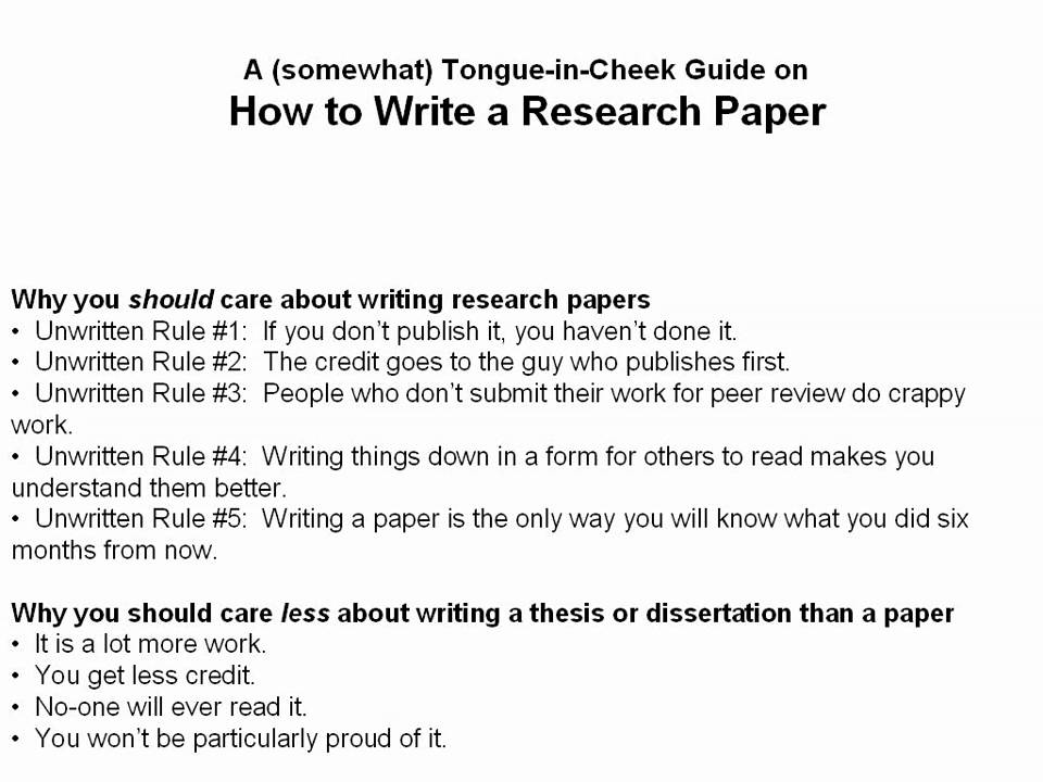 how to write a scientific research paper part of