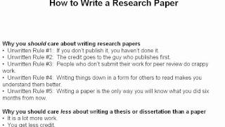 How to write a science research paper