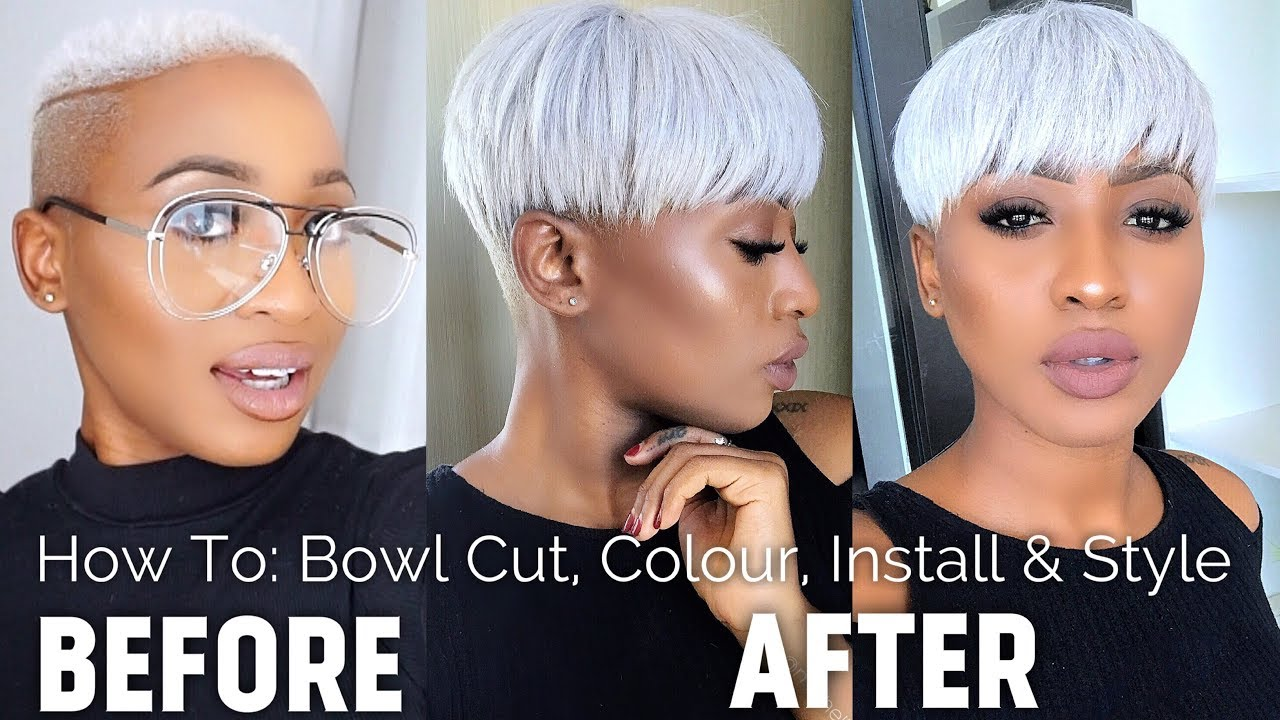 How To Colour Install Quick Weave Style Icy Platinum Blonde White Hair Rihanna Bowl Cut