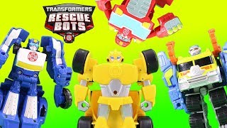 Transformers Optimus Prime Racing Trailer Magic Surprise with Rescue Bots Bumblebee Chase More!