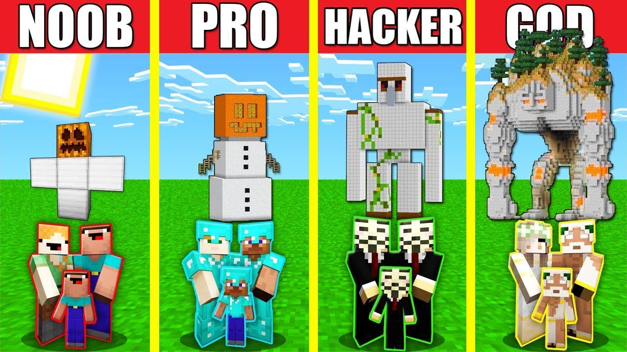 Minecraft Battle: IRON GOLEM HOUSE BUILD CHALLENGE - NOOB vs PRO vs HACKER vs GOD / Animation TITAN