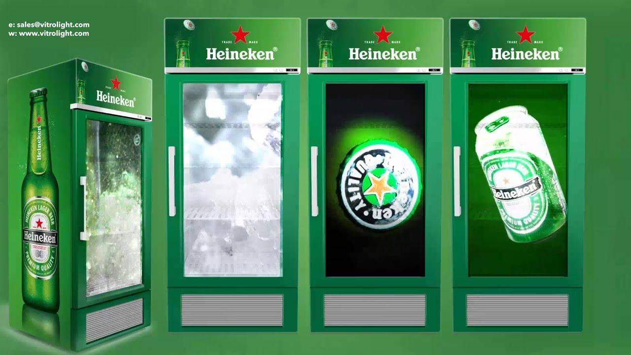 Heineken Transparent Lcd Display Refrigerator Door Youtube