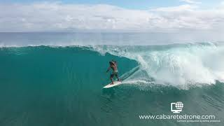 Surfing barrels Playa Encuentro Cabarete