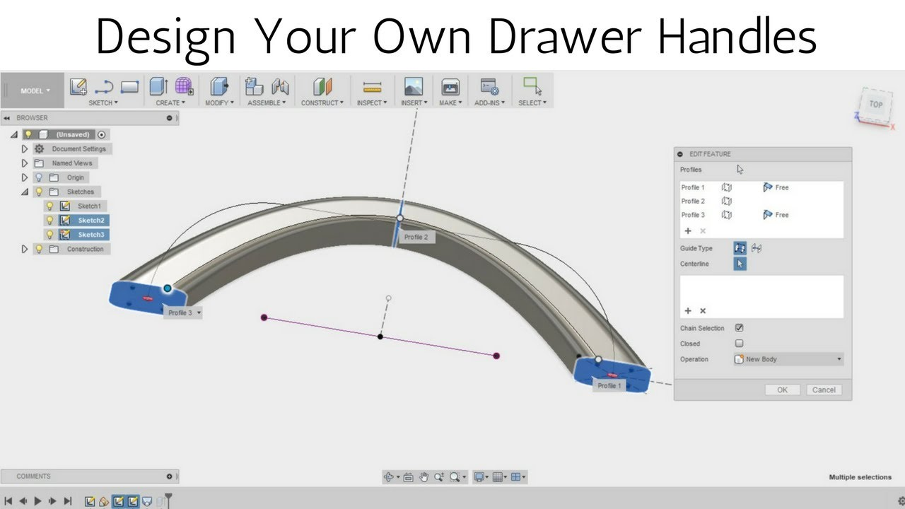 Design Your Own Drawer Handles In Fusion 360 Loft Tool