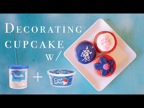 Decorating cupcake w/ store-bought frosting + cool whip