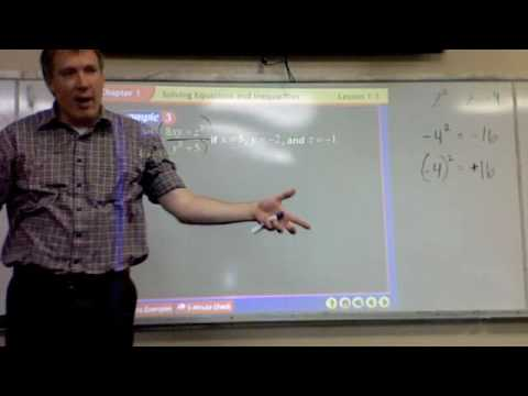 Algebra 2 -- Lesson 1 1 -- Expressions & Formulas - YouTube
