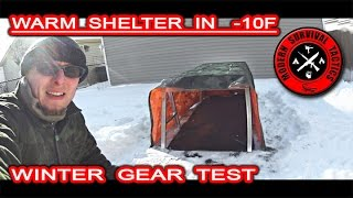Warm winter shelter in -10F / GEAR TEST - NO HEATING Video