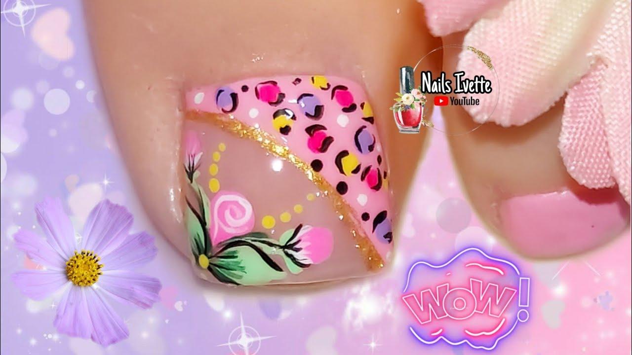 Modelo de uñas para PIE en rosa pastel/Uñas sencillas y ...