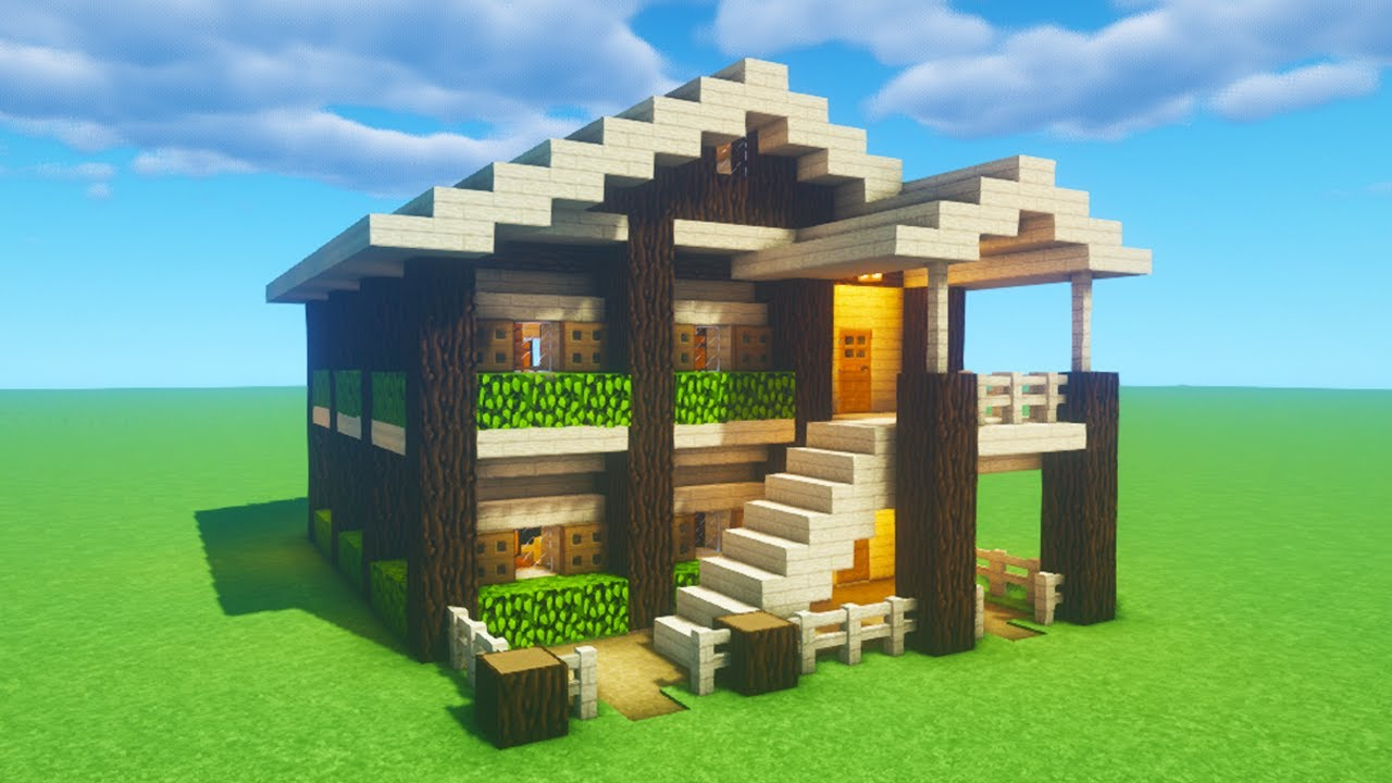 Minecraft Tutorial How To Make A Birch Wooden Survival House 2020 Youtube