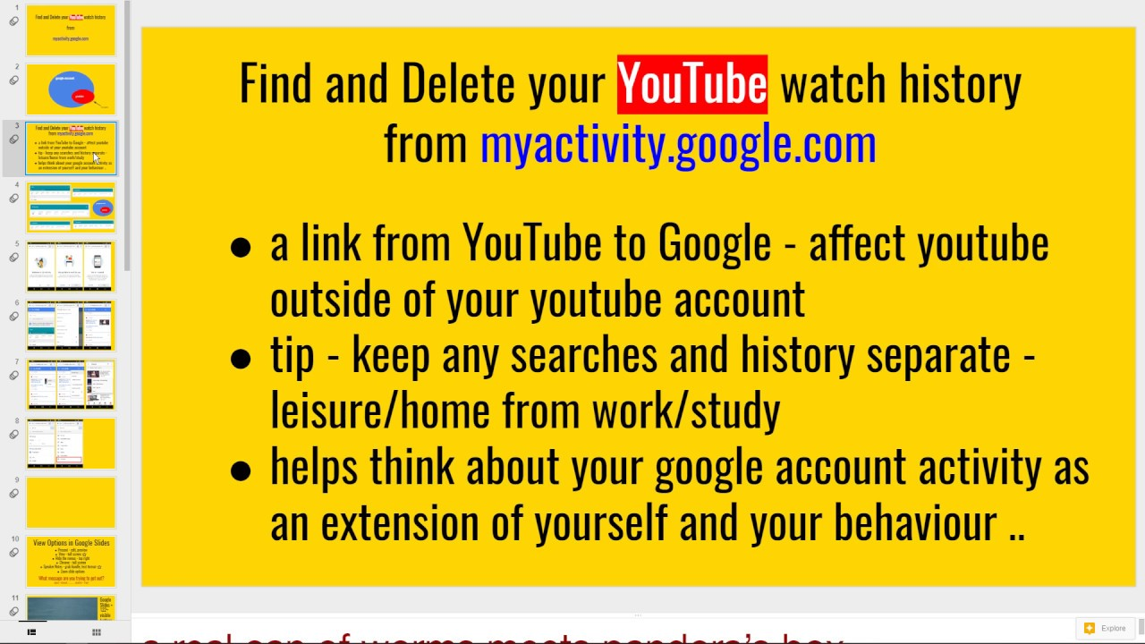 Find and Delete your YouTube Watch History from myactivity google com