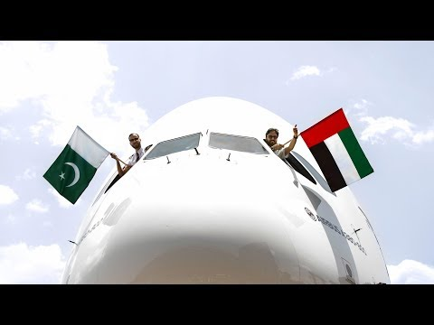 First landing of Airbus A380 superjumbo in Pakistan | Emirates Airline