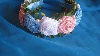 Канзаши мастер-класс Ободок  с розами Канзаши. DIY