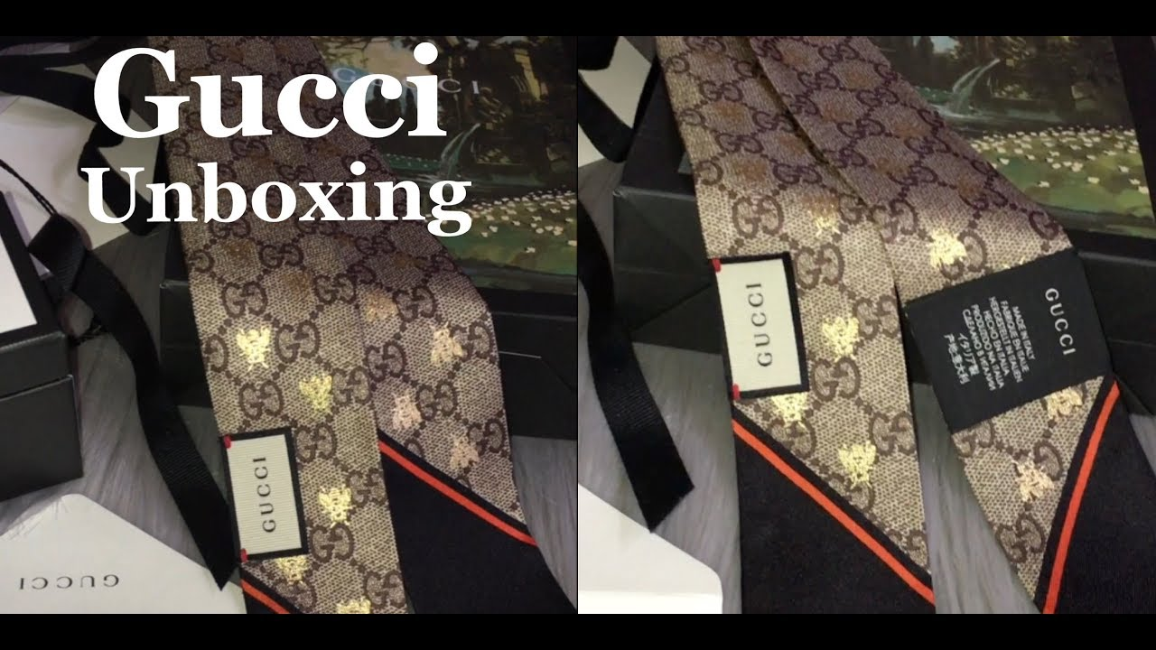 044a8fd655 Unboxing GUCCI GG Bees Silk Neck Bow 2018 cruise    Marta In_Vogue_UK