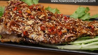 Asian Food - Fried Fish With Sesame Seeds Soy Sauce Recipe Bream Salmon Cod Tuna