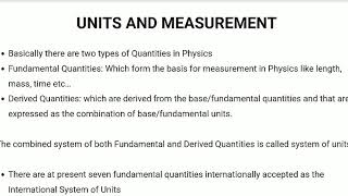 Units and Measurement- Physics2 - RRB JE exam - TNPSC - SSC exam