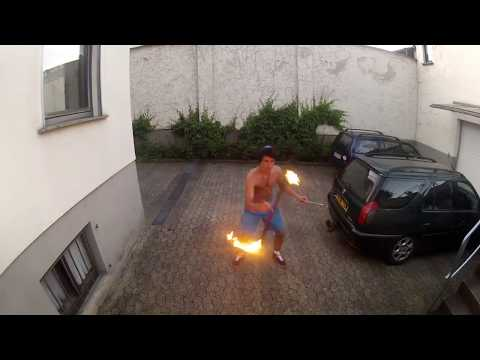 Download Youtube: Fire Devil Stick routine in the backyard