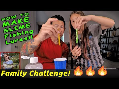 Homemade SLIME WORM LURES - Dad vs Daughter Fishing Challenge