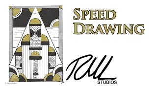Dyrenmüir Keep - Sharpie Speed Drawing of An Art Deco Stylized Silver and Gold Fantasy Castle