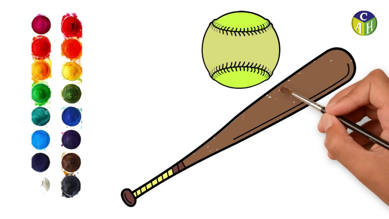 9fdacce1496 Howto draw a baseboll bat and boll for kids