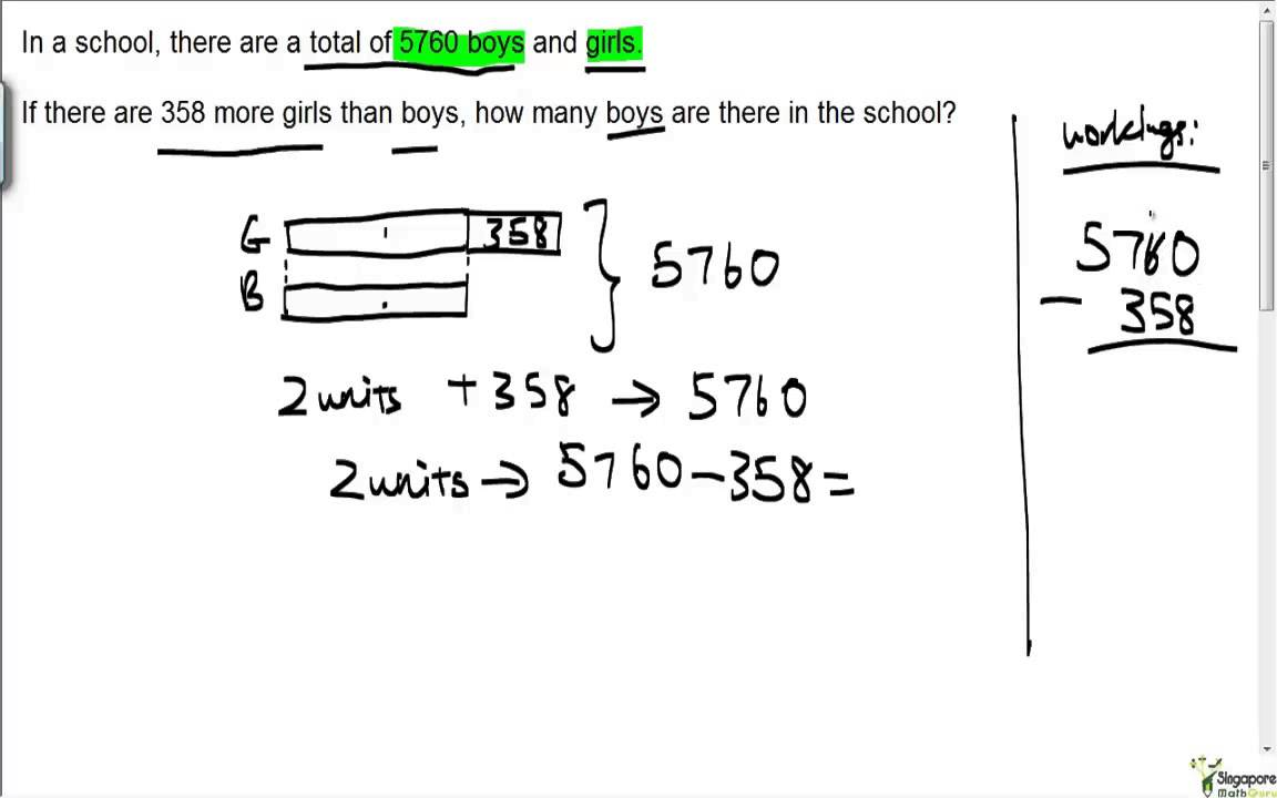Worksheet 4 Math primary 4 maths whole numbers question watch learn try www singaporemathguru com
