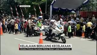 Detik-detik Atraksi Polwan Seruduk Penonton & Balita Terlindas Mobil; Kelalaian Berujung Kecelakaan