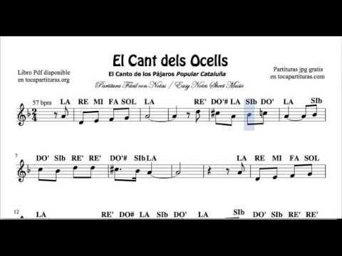 El Cant dels Ocells Video Partitura con Notas Versión Fácil para Flauta Violín Oboe    Principiantes