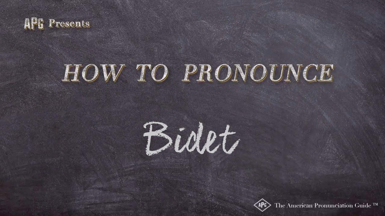 How to Pronounce Bidet  Bidet Pronunciation