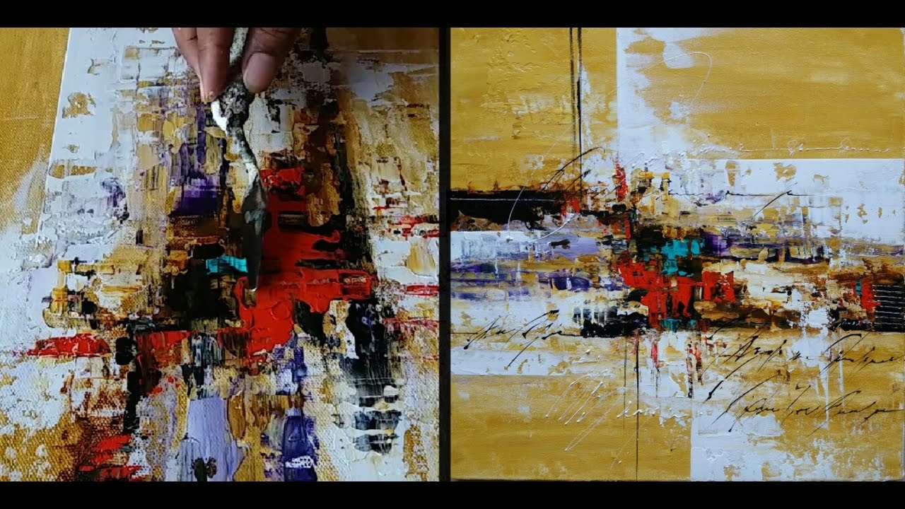 Abstract painting acrylic paints palette knife easy for How to paint with a palette knife with acrylics