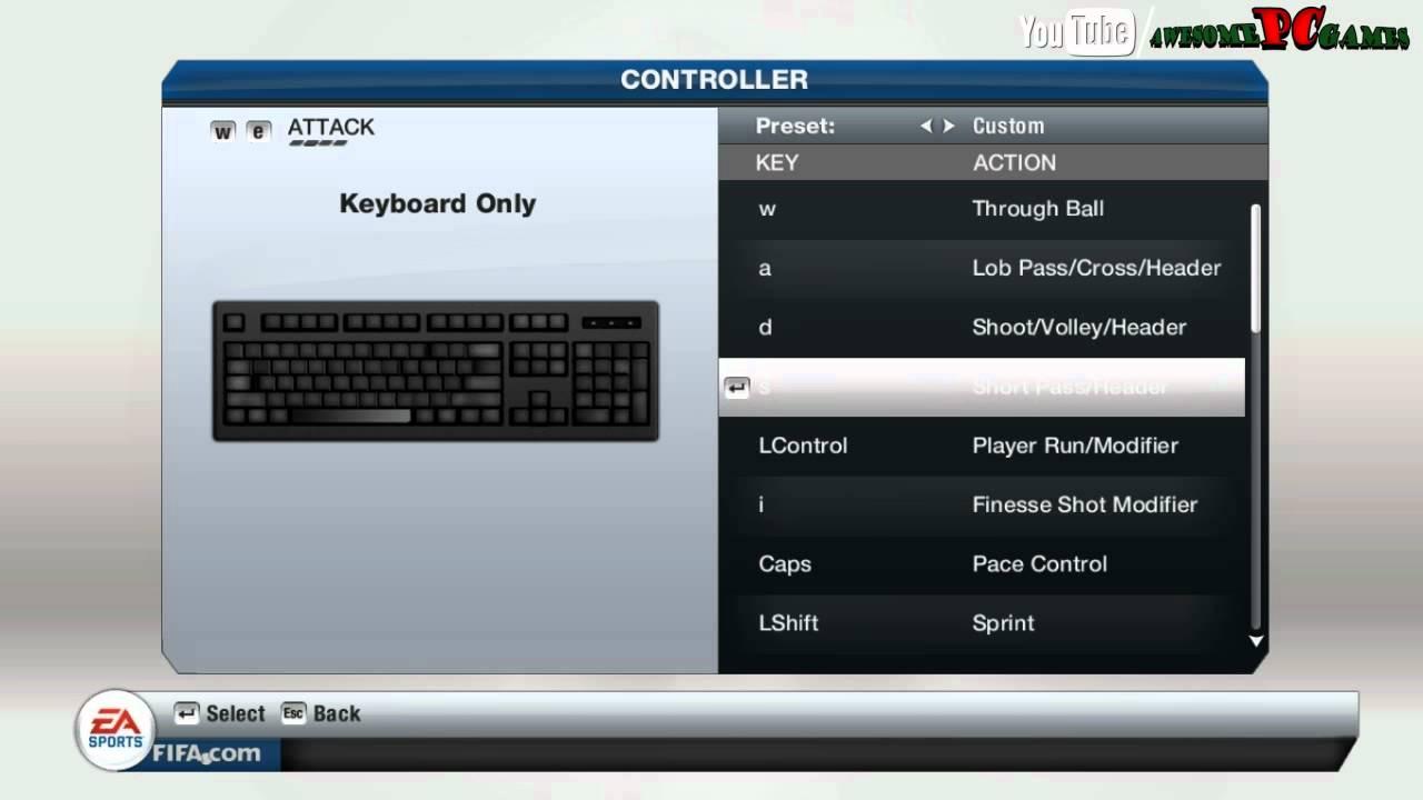 fifa 2018 keyboard controls