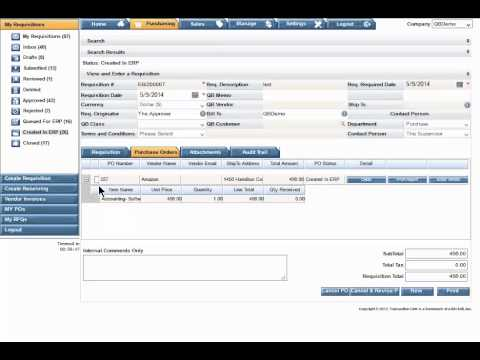 eRequisition Tutorial: Printing or Sending a Purchase Order to a Vendor (Version 1.0)