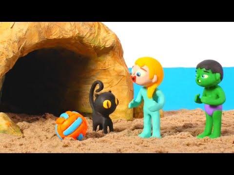 SUPERHERO BABIES & THE MYSTERY CAVE ❤ Spiderman, Hulk & Frozen Elsa Play Doh Cartoons For Kids