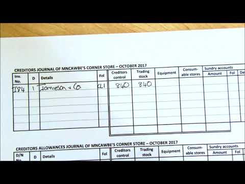 Creditors and Creditors Allowances Journals