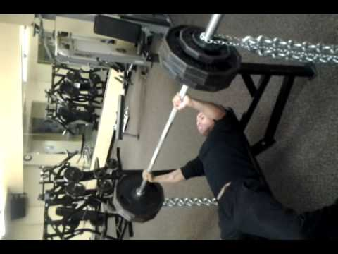 Benchpressing 370lbs plus 45lb chains. 415 at top.