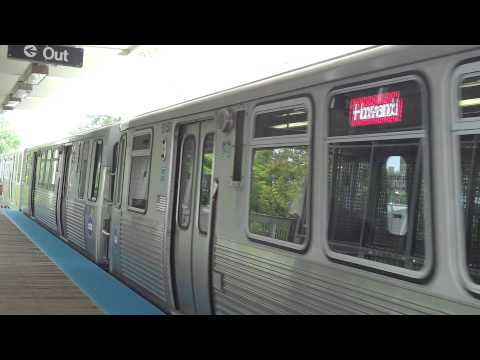 """CTA Transit: 2009-12 Bombardier 5000 Series """"L"""" Red Line Train at Indiana Station (Howard)"""